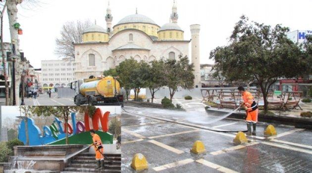 Soykan Meydanı'nda Dezenfekte Çalışması